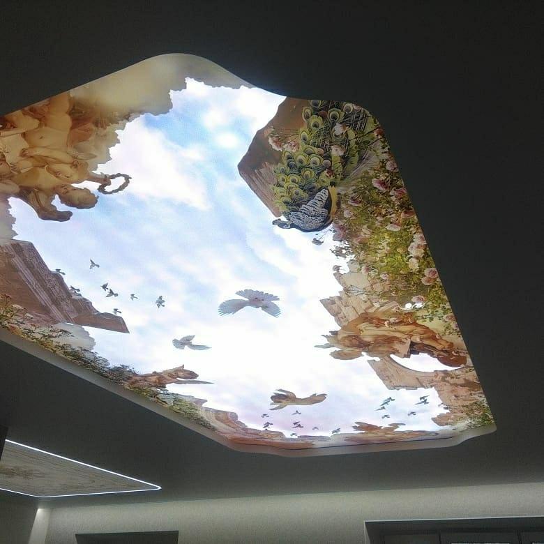 фотопечать для потолка светопрозрачная квартире автономное отопление